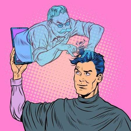 remote work online help. a male Barber makes a haircut. Pop art retro vector illustration kitsch vintage 50s 60s style