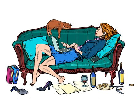 Beautiful woman at home with a cat working and resting. Pop art retro vector illustration kitsch vintage 50s 60s style