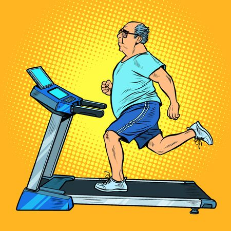 an elderly fat man treadmill, sports equipment for training. fitness room. Pop art retro vector illustration vitch vintage 50s 60s style Ilustracja
