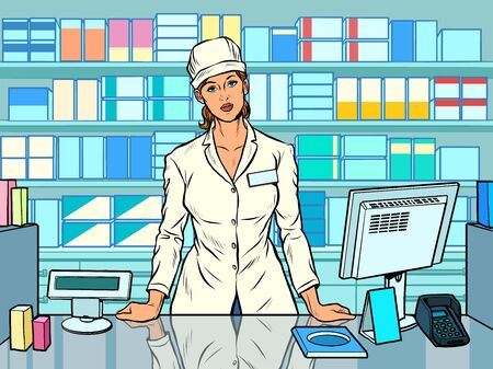 The woman pharmacist. Working in a pharmacy. Medicine sales. Pop art retro vector illustration 50s 60s style Ilustracja