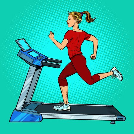 treadmill, sports equipment for training. fitness room. Pop art retro vector illustration vitch vintage 50s 60s style Фото со стока - 148987577