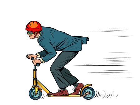 A businessman is riding a scooter. Pop art retro vector illustration 50s 60s kitsch vintage style
