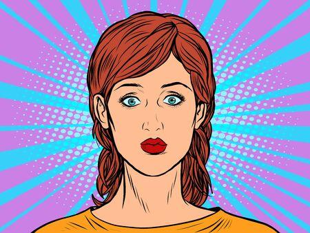 Pop art woman portrait retro vector illustration 50s 60s kitsch vintage style Фото со стока - 148987631