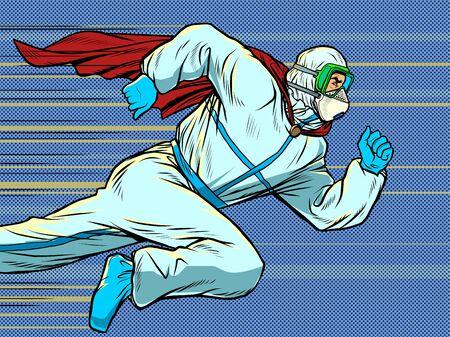 Hero doctor runs. Covid19 coronavirus epidemic. Pop art retro vector illustration 50s 60s style Zdjęcie Seryjne - 148987630