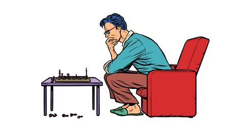 A man plays chess alone. Pop art retro vector illustration 50s 60s style Zdjęcie Seryjne - 148987628