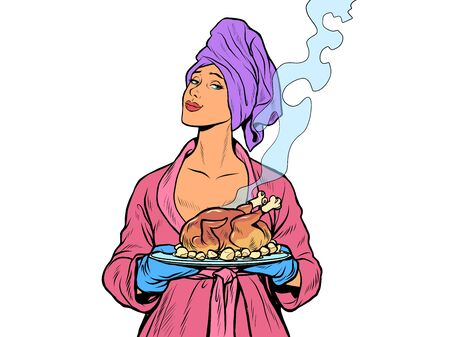 Woman with ready fried poultry chicken duck. isolate on a white background. Pop art retro vector illustration kitsch vintage 50s 60s style