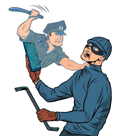 Online security. A police officer detains a thief. Pop art retro vector illustration 50s 60s style Zdjęcie Seryjne - 148987632