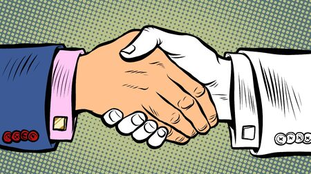 handshake deal business agreement. Pop art retro vector illustration kitsch vintage 50s 60s style Ilustracja