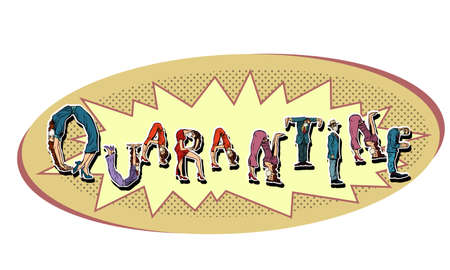 Quarantine word Office alphabet. People as letters
