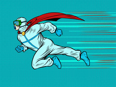 runs to help superhero doctor man in protective suit, epidemic