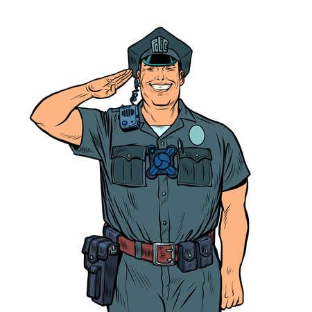 A good cop salutes. Police work Фото со стока - 150938776