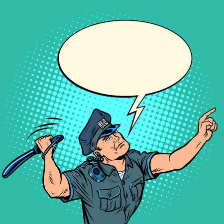 The policeman hits with a baton Ilustración de vector