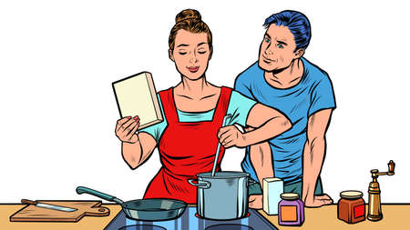 Husband and wife cook in the kitchen Фото со стока - 150938781