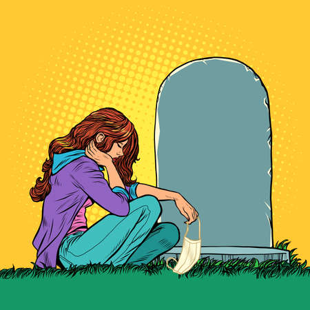 a widow or daughter who lost a family member in an epidemic. Girl with a medical mask near the grave. Pop art retro illustration kitsch vintage 50s 60s style Zdjęcie Seryjne - 151336635