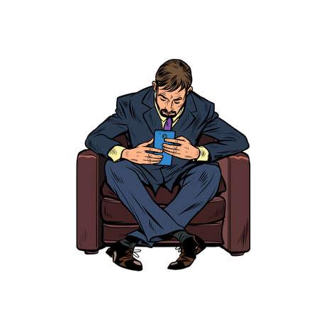 A male businessman uses a smartphone. Pop art retro illustration kitsch vintage 50s 60s style