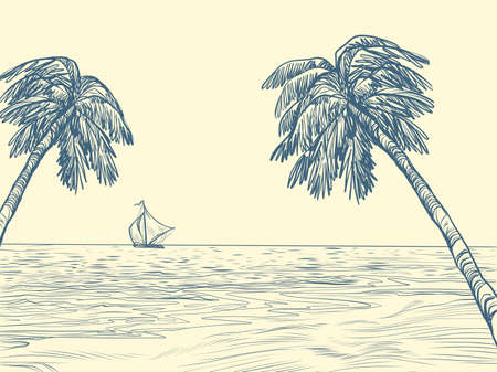 palm trees sea contour silhouette. Pop art retro illustration kitsch vintage 50s 60s style Zdjęcie Seryjne - 151336637