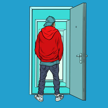 A teenage boy stands on the threshold of an open door. Pop art retro vector illustration kitsch vintage 50s 60s style