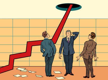 arrow growth chart. Pop art retro illustration kitsch vintage 50s 60s style Фото со стока - 151336642