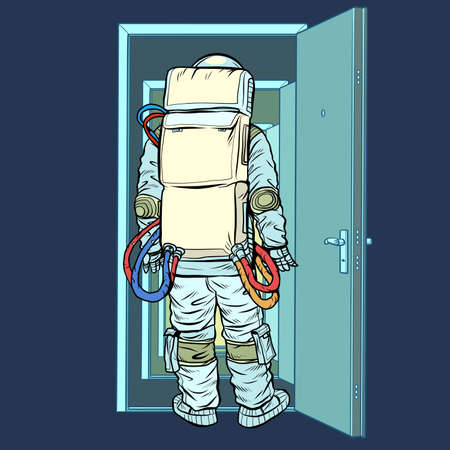 astronaut stands in front of an open door. New discoveries. Pop art retro illustration kitsch vintage 50s 60s style