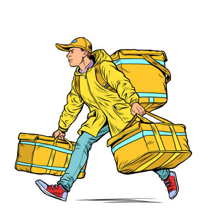 courier boy food delivery. Pop art retro illustration kitsch vintage 50s 60s style