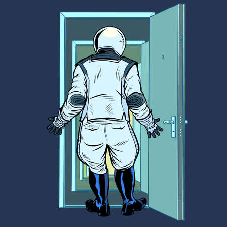 modern astronaut stands in front of an open door. New discoveries. Pop art retro illustration kitsch vintage 50s 60s style Zdjęcie Seryjne - 151336649