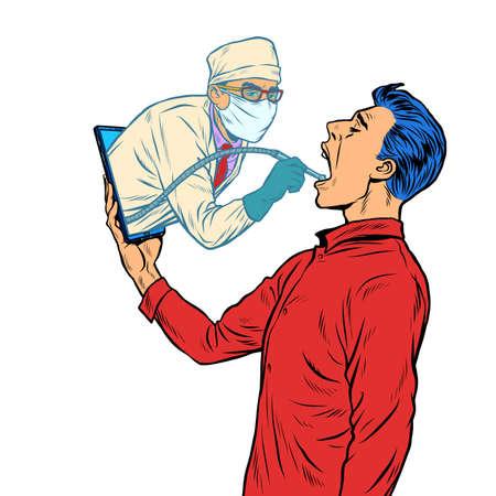 remote work online help. dentist drills a tooth. Pop art retro illustration kitsch vintage 50s 60s style Ilustracja