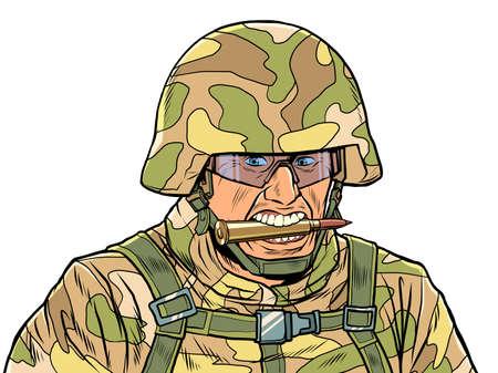 Aggressive military in camouflage and helmet Zdjęcie Seryjne - 158979607