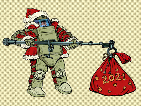 Santa Claus in a protective suit and gifts. Fear of the new year 2021 Zdjęcie Seryjne - 159013842