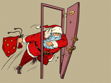 Santa Claus is kicking down the door in 2021. New year and Christmas Zdjęcie Seryjne - 159410582