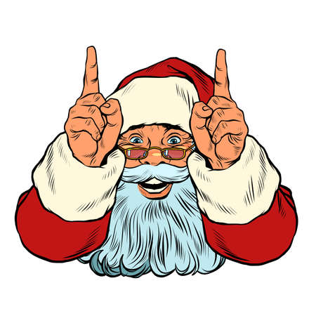 Santa Claus points up. Presentation gesture Zdjęcie Seryjne - 159411050