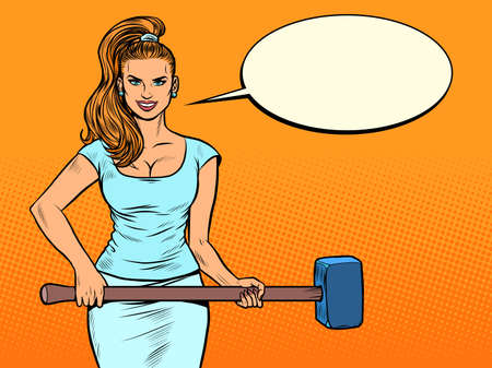 Beautiful strong woman with a hammer. Feminism Illustration