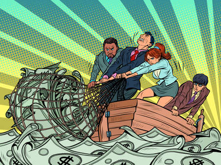The business team makes a financial profit, like fishermen catching money in a net Illustration