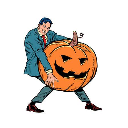 Halloween pumpkin and businessman Иллюстрация