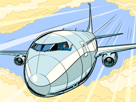 the plane is a passenger liner. Travel and air transportation Illustration