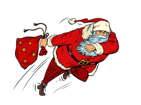 Santa Claus is running with a gift bag. Christmas courier Illustration