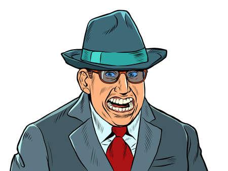 A businessman with a creepy smile. Fake joy