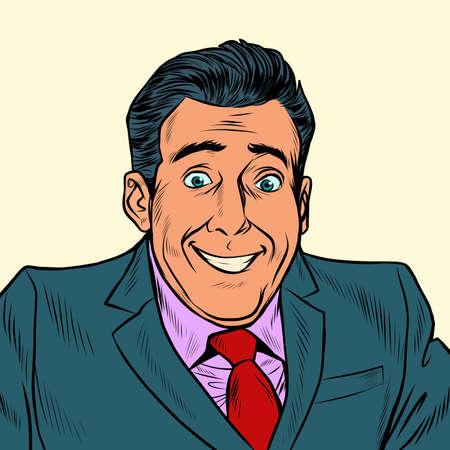 Happy man businessman, funny look
