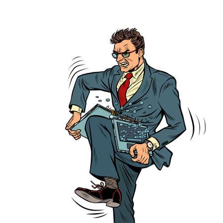 Man breaks laptop in anger Illustration
