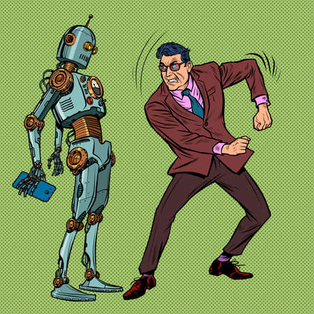 A man against a robot. Rage aggression strong emotions, hatred