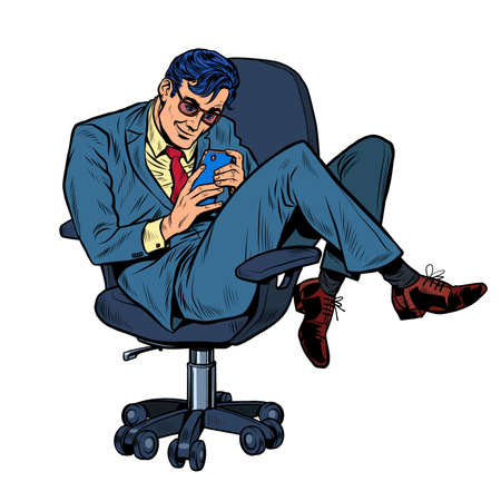 Businessman in an office chair looking at a smartphone