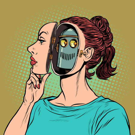 An woman pretends to be a human, but inside she is a robot