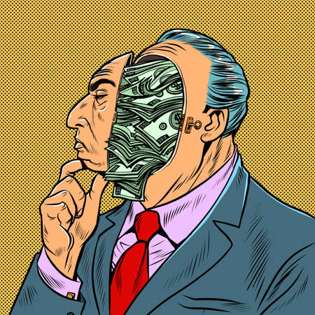 The businessman is filled with thoughts about finances and money