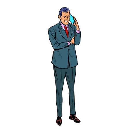 Businessman speaks on a mobile phone