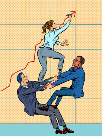 Team work. A male and female businessman increase the company growth schedule. White and black employees Illustration