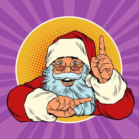 Santa Claus points up. Presentation gesture