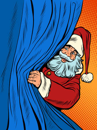 Santa Claus looks out from behind the curtain. Christmas background