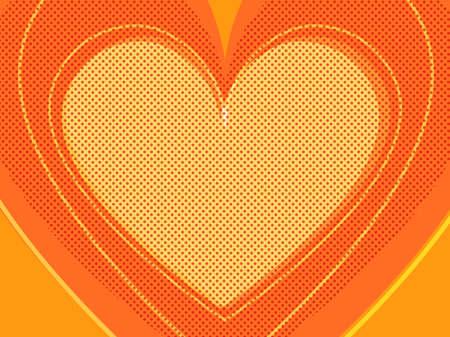 orange Valentine heart. Symbol of love