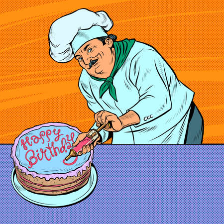 Happy Birthday Pastry chef man with cake
