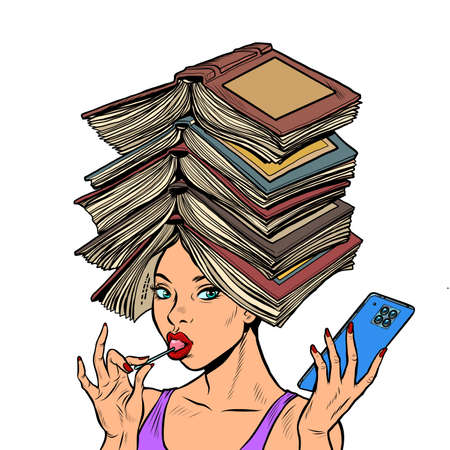 A smart well read woman with books