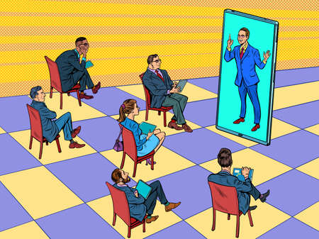 Remote business meeting or a presentation, lecture, training through the screen Illustration